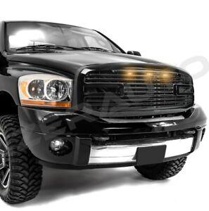 Big Horn+3x LED Gloss Black Packaged Grille+Shell for 06-08 Dodge Ram 1500+2500+