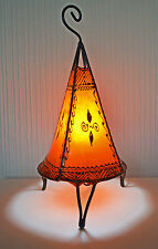 Marokkanische Henna Lampe Runder sockel Pyramide 38 CM rot/orange/creme/grün/