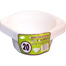 20 X Ciotole Di Plastica Con Manici insalata Zuppa Cereale FRUTTA MONOUSO CIOTOLE 9oz