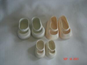 LOT 3 PAIR Vtg. SMALLER SIZE VINYL / RUBBER MARY JANE SHOES 2 White 1 Light Pink