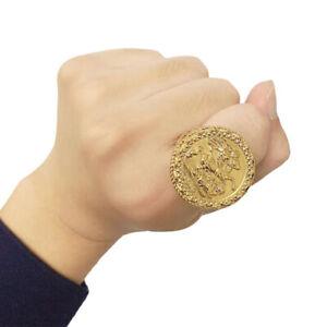 Gold St George Ring 18K Men's Full Sovereign Chunky Style-ALL SIZES