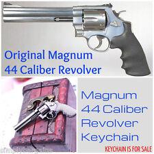 Military Police Magnum 44 Caliber Handgun Revolver Gun Metal Keychain  US Seller