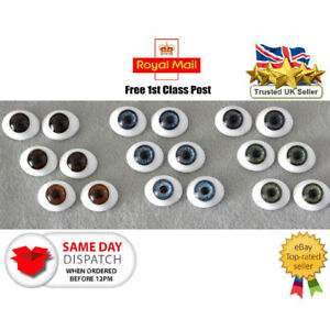 Solid glass eyes oval flat back 24mm for Reborns,Ooaks and other crafts