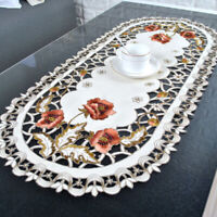 Embroidered Lace Tablecloth Floral Table Doily Home Wedding Party Satin Oval85cm