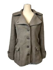 Converse All Star Womens Brown Pea Coat Medium Button Front Long Sleeve Wool