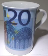 Domestic Brand 20 Euro Themed 9 FL OZ Porcelain Tea Cup European Union Currency