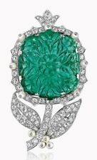 Simulated Carved Emerald 925 Sterling Silver CZ Flower Leaf Design Pearl Brooch