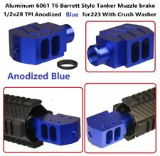 1/2x28 Tpi Alminum 6061 T6 Tanker Style Muzzle Brake Anodized Blue For 223 556