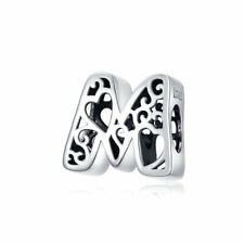 AAA S925 Sterling Silver Pendant Bead Letter M Charm For Women Bracelet Necklace