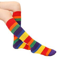 Children Kids Rainbow Striped Mid Tube Socks Elastic Soft Socks Baby Knee Socks