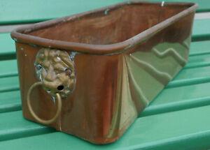Vintage copper Lions Head Trough /Planter