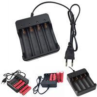 4 Fach Lithium Ladegerät für 3,7 V 4x 18650 Batterie Akkubox Wiederaufladbar