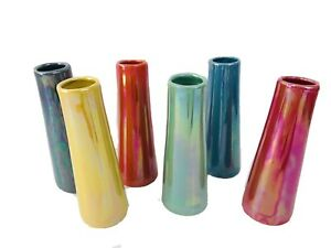 "6 NEW Chive Galaxy 5.5""T Small Cylinder Ceramic Bud Vase Mid modern look rainbow"