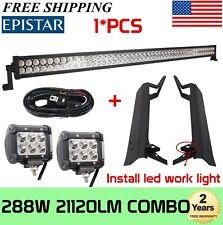 """50"""" 288W LED+Mount Brackets For Jeep Wrangler TJ 97-06+2X 4"""" 18W Pod +Wiring Kit"""