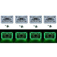 "4X6"" Green LED Halo Angel Eye Halogen H4 Headlight Crystal Clear Headlamp Bulbs"