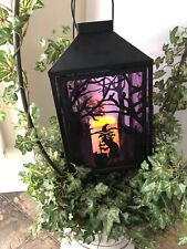 Halloween  Metal Lantern Flickering Candle Witch Creepy Trees 14 X 8 UNIQUE!