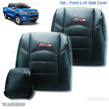 Front Blk Leather Sport Seat Headrest Cover For Toyota Hilux Revo Sr5 2015-2017