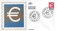 ENVELOPPE 1er jour - Le TIMBRE EURO ADHESIF - Emis en carnet - PARIS 1999