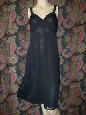 Vintage Shadowline Black Silky Nylon Empire Slip Nighty Lingerie 38