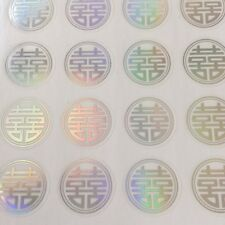 90-Silve Double Happiness Wedding Invitation Envelope Stickers Seals-Round Shape