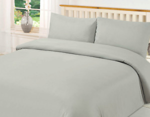 GREY OR BLUE BRUSHED MICROFIBRE 'SOFT AS EGYPTIAN COTTON DOUBLE BED DUVET SET