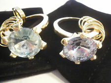Set of 2 Huge Imitation DIAMOND RING Key Chains Gold Tone Clear & Green Stone