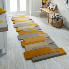 Flair Rugs Abstract Collage Pure Wool Hand Carved Runner, Ochre, 60 x 230 Cm