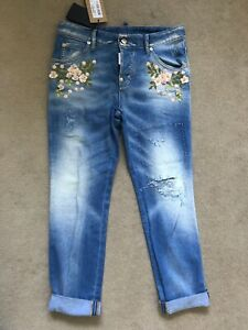 Dsquared2 Floral Embellished Denim Size 42