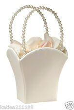 Wedding plain satin ivory with vintage pearl handle flower girl basket