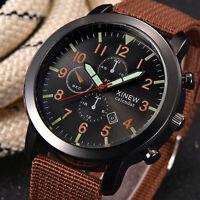 Herren Militär Edelstahl Datum Quartz Sportuhr-Armbanduhren-Täglich-wasserd W4D7