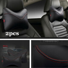 1 Pair PU Leather Car Pillows Headrest Neck Cushion Support Seat Accessories