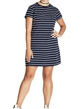 City Chic Stripe T-Shirt Dress Size 20 Navy/White Comfortable Casual