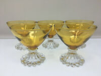 Set of 5 Vintage Anchor Hocking Boopie yellow Glasses Champagne coupe glass bar