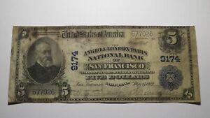 $5 1902 San Francisco California CA National Currency Bank Note Bill! Ch. #9174