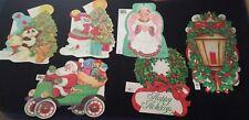 Vintage Christmas lot 6 Eureka die cuts Snowman tree ornaments Santa car angel