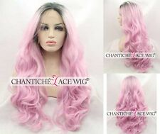 Dark Roots Ombre Pink Wig Long Wavy Synthetic Lace Front Wigs For White Women