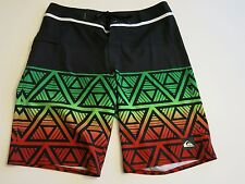 Quiksilver Men's 32 Hawaii Division Remix Rasta Irie Board Shorts Black Red