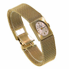 Vintage Omega Solid 14K Yellow Gold Mesh Bracelet Manual Wind Ladies Watch