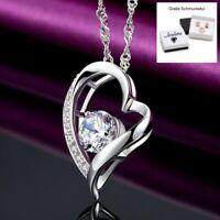 ❤️ Herz-Kette Anhänger Halskette 925 Silber Zirkonia Damen Valentinsgeschenke