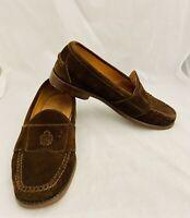 POLO RALPH LAUREN Suede Brown Loafers Shoes Men's Sz 9.5 D Logo