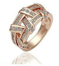 Luxury 18 k Gold Plated Charm Wide Ring Medium Size O 17 mm Diameter FR120