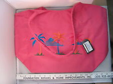 NWT Stowaway Large Pretty Pink Zippered Beach Bag Tote Tropical Palm HD032C