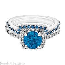 1.67CT ENHANCED BLUE DIAMOND ENGAGEMENT RING & WEDDING BAND SETS 14K WHITE GOLD