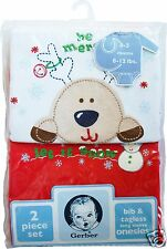 NEW 0-3m Gerber Red Christmas Tagless Onesie Matching Bib with Reindeer Snowman