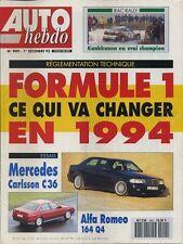 AUTO HEBDO n°909 du 1er Décembre 1993VW COCCINELLE CUP ALFA 164 Q4 MERCEDES C36