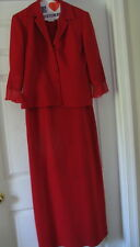 Ladies size 8 red 2 pc dress suit jumper blazer Plaza South womens  jacket EUC