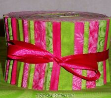 "Jelly Roll  Fabric Strips Quilting 20~2.5"" Bright Pink Lime Green Cotton Quilt"