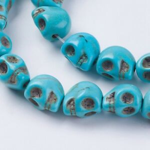 lot de 12 perles tete de mort 10x8 mm en howlite