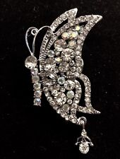 Clear Austrian Rhinestone Crystal Butterfly Bridal Wedding Brooch Broach Pin