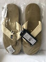 Vineyard Vines Leather w/Washed Webbing Natural Flip Flops Mens Sz 10 1Z0110-102